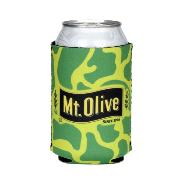 Green Camo Mt. Olive Pickles Can Koozie