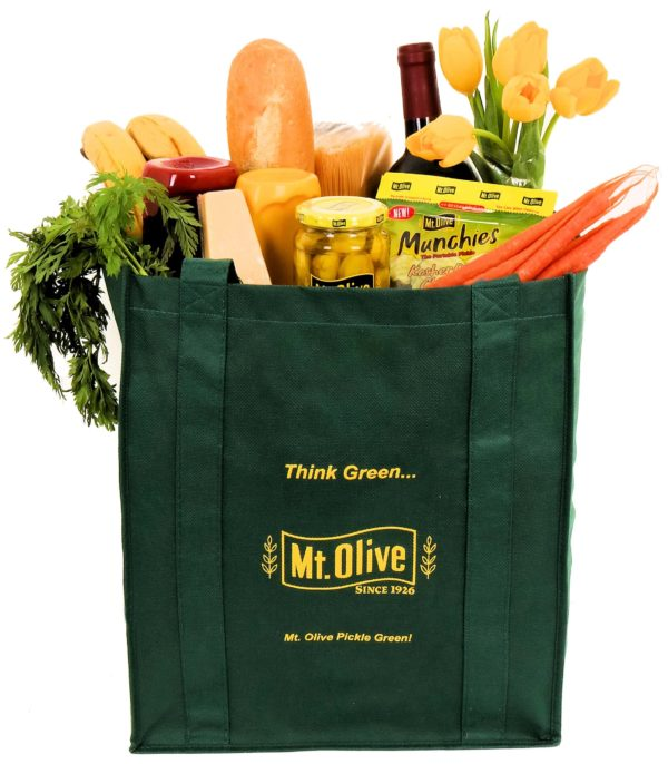 Dark Green Bag filled with Groceries displaying the Mount Olive logo